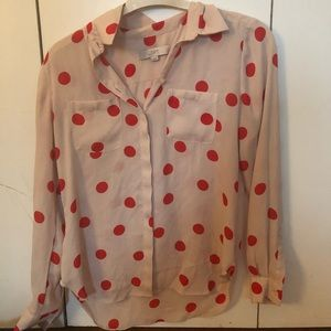 Loft cream and red polka dot blouse!